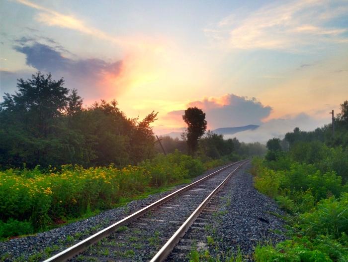 Railroad tracks and Dublin Street, Gorham, NH.
