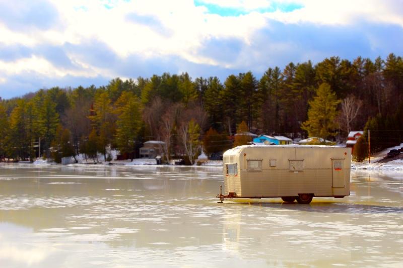 Trailer parked on Cedar Pond, Milan, NH.