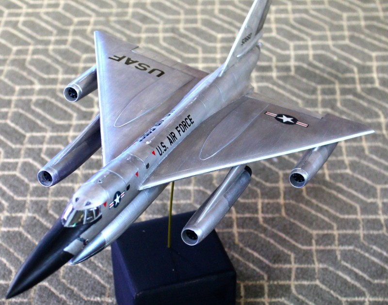 My model of a B-58 Hustler medium bomber, which is part of a five-way model building competition with me and my dork friends (plus my non dorky son). The B-58 was a Mach 2 nuclear delivery vehicle—and also a sweet model built by me, Chris Blair.