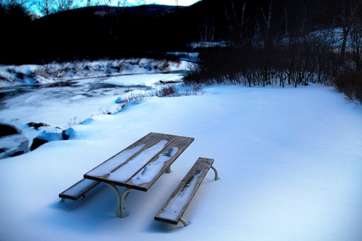 Picnic table, Willey Historical Site, Crawford Notch, NH.