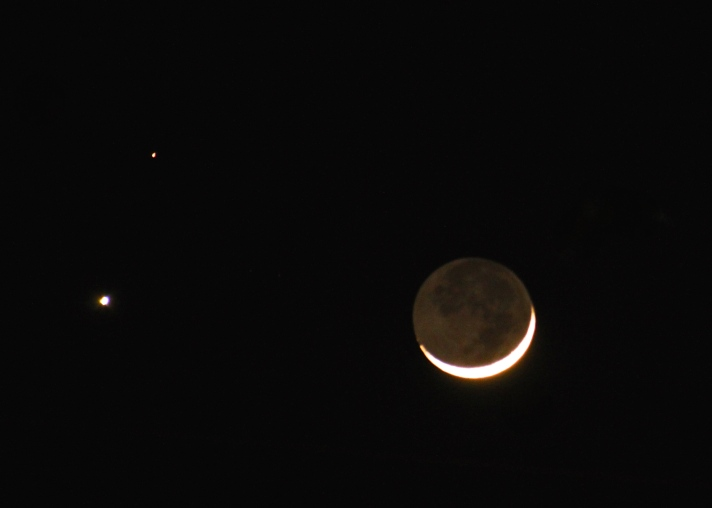 Venus, Mars, crescent moon.