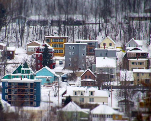 Residential neighborhood with apartment buildings, Berlin, NH.