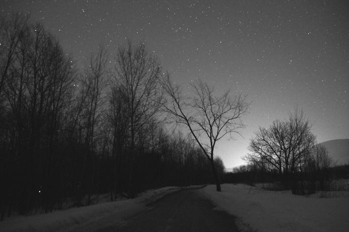 Night sky near airport, Gorham, NH.
