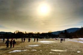 School children in late winter, Gorham, NH