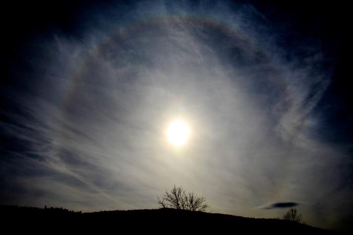 22° degree halo around the sun, Gorham, NH, March 10, 2015.