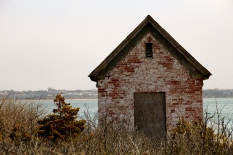 Brick outbuilding, Brant Point Lighthouse, Nantucket Island..