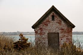 Brick outbuilding, Brant Point Lighthouse, Nantucket Island..