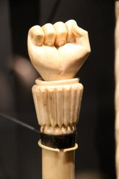 Scrimshaw whalebone cane, Nantucket Whaling Museum.