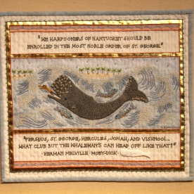 Embroidery of scene from Moby Dick, Nantucket Whaling Museum.