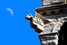 Gargoyle and moon, Pilgrim Monument, Provincetown, Cape Cod, MA.
