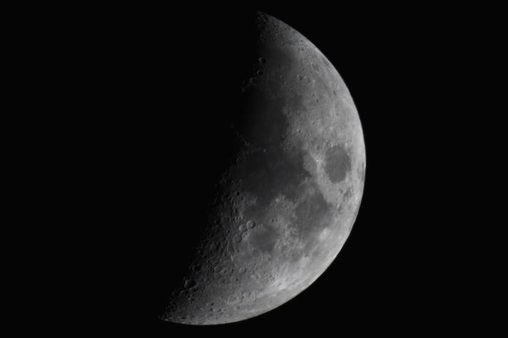 Late waxing crescent moon, ISO 200, 1/30, 90mm Cassegrain