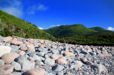 Beach rocks and highlands, Cape Breton Island, NS