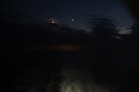 Moon, Jupiter, and Venus from aft deck of Portland to Nova Scotia ferry, with night glow from Portland.