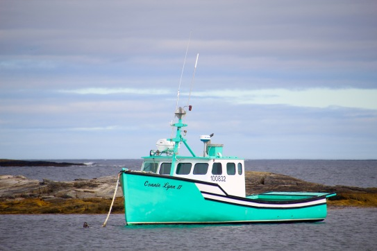 Turquoise fishing boat, Nova Scotia