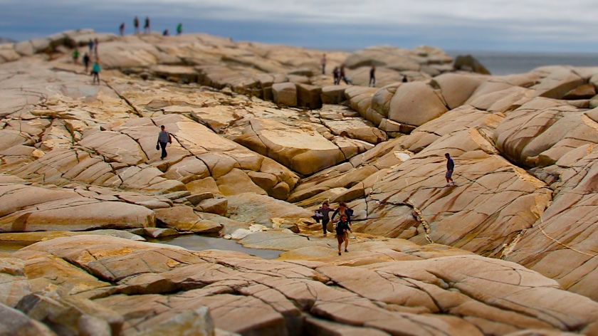 Teenagers running on rocks, Peggy's Cove, NS