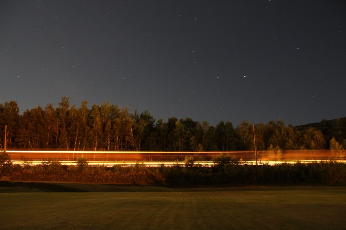 Fright train, St. Lawrence and Atlantic Railroad, 13 second exposure, Gorham, NH.