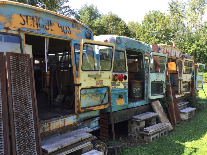 School buses at antique shop, Bethel, ME