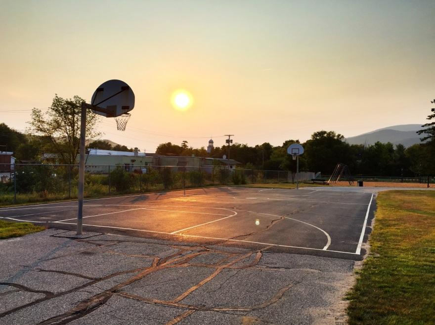 Schoolyard basketball court, Gorham, NH