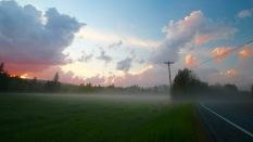 Field and sunset along U.S. Route 2, Lunenburg, Vt.