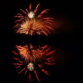 Fireworks display reflected in Libby's Pond, Gorham, N.H.