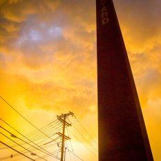 Millyard smokestack, Nashua, N.H., August 2017