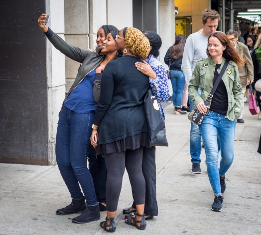 Women taking a selfie, Midtown Manhattan, September 2017.