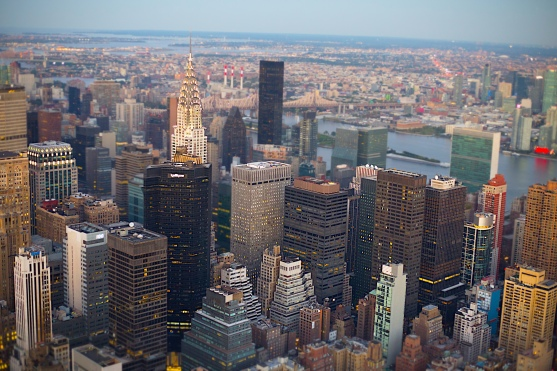 Chrysler Building and Manhattan looking northeast from Empire State Building, New York, N.Y.