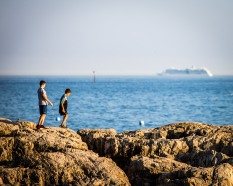 Boys on rocks, Marblehead, Mass., September 2017