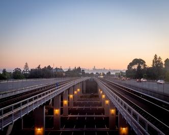BART train platform at sunset, Oakland, Calif., July 2018