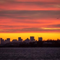 Boston at sunset from Marblehead, Mass., January 2019
